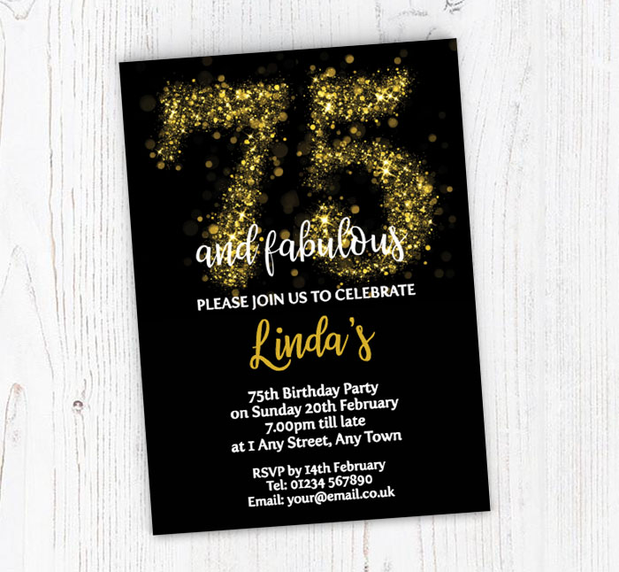 Sparkly 75th Birthday Party Invitations