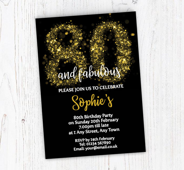 Sparkly 80th Birthday Party Invitations