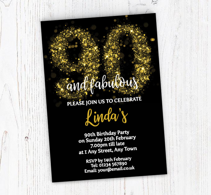 Sparkly 90th Birthday Party Invitations