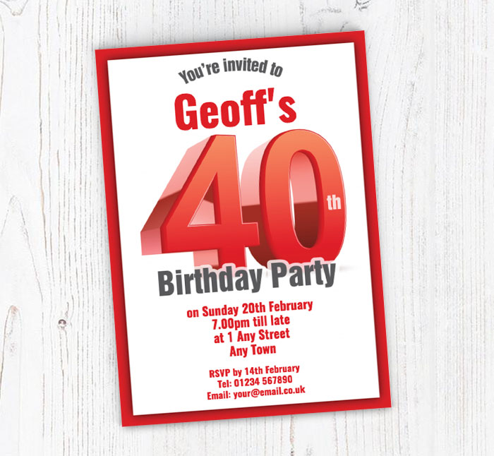 Big Red 40th Birthday Party Invitations