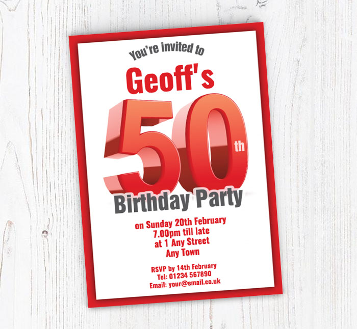 Big Red 50th Birthday Party Invitations