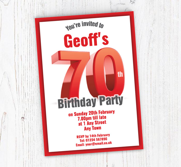 Big Red 70th Birthday Party Invitations