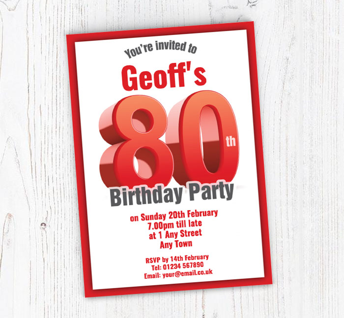 Big Red 80th Birthday Party Invitations