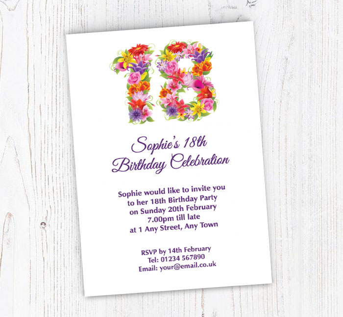 floral 18th birthday party invitations customise online plus free