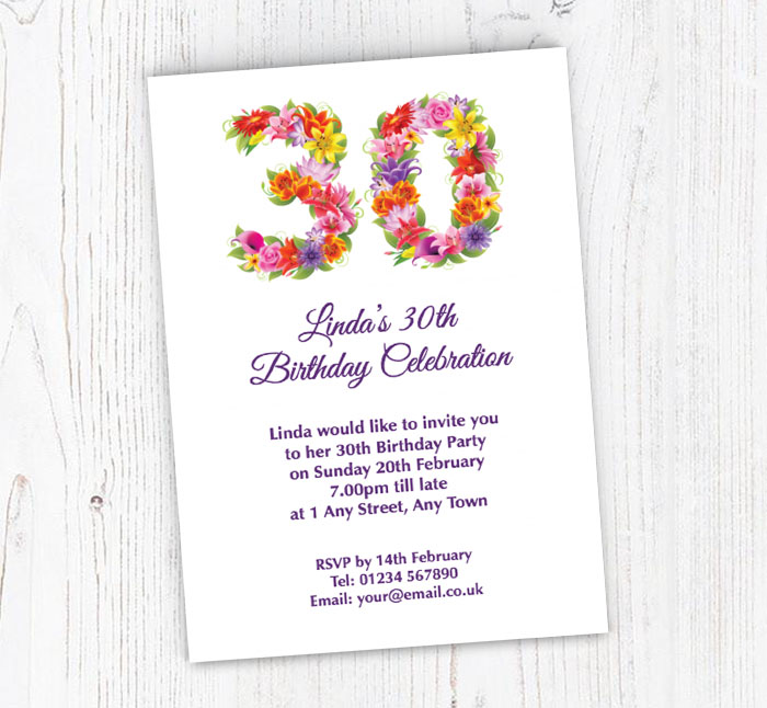 Floral 30th Birthday Party Invitations