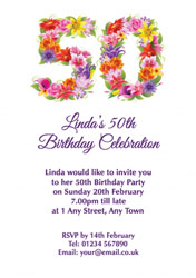 floral 50th birthday party invitations