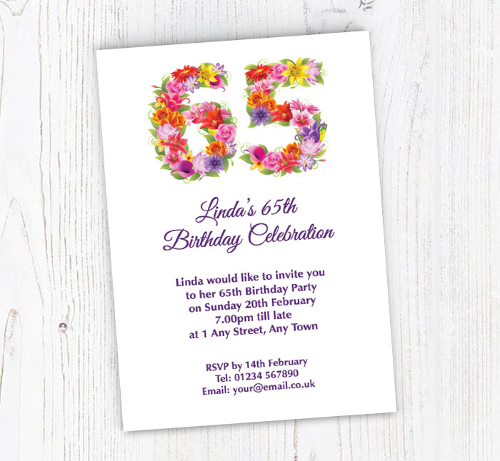 Floral 65th Birthday Party Invitations