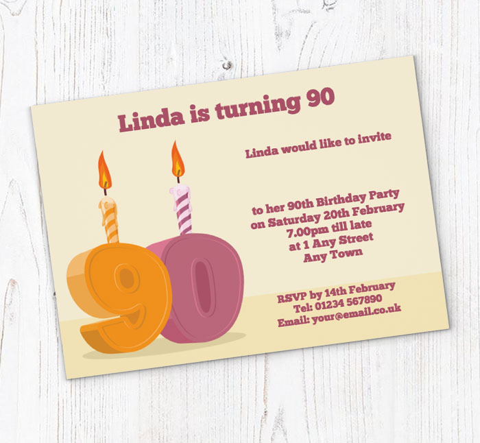 90th Candle Birthday Party Invitations