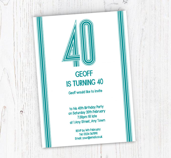 40th Vertical Stripes Party Invitations