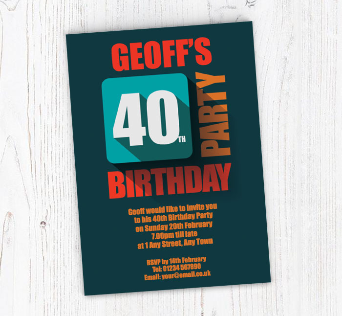 In Relief 40th Birthday Party Invitations