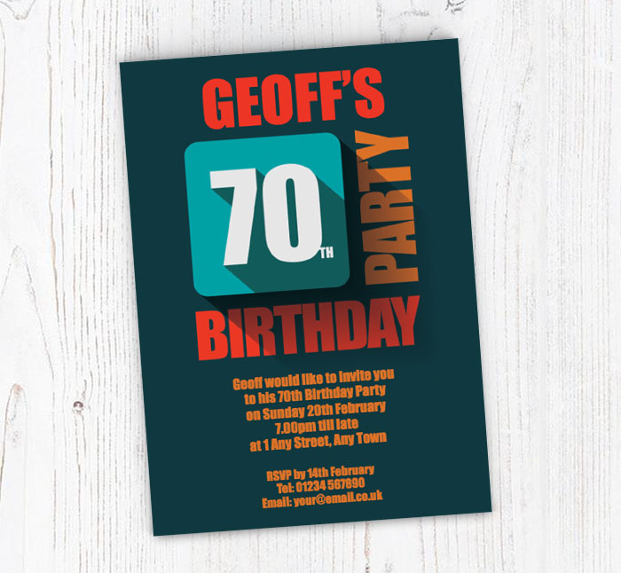 In Relief 70th Party Invitations