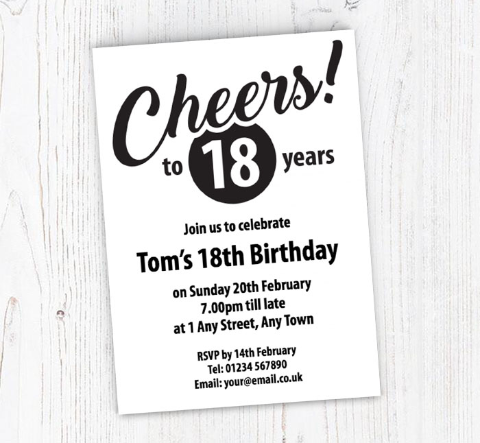 Cheers To 18 Years Party Invitations