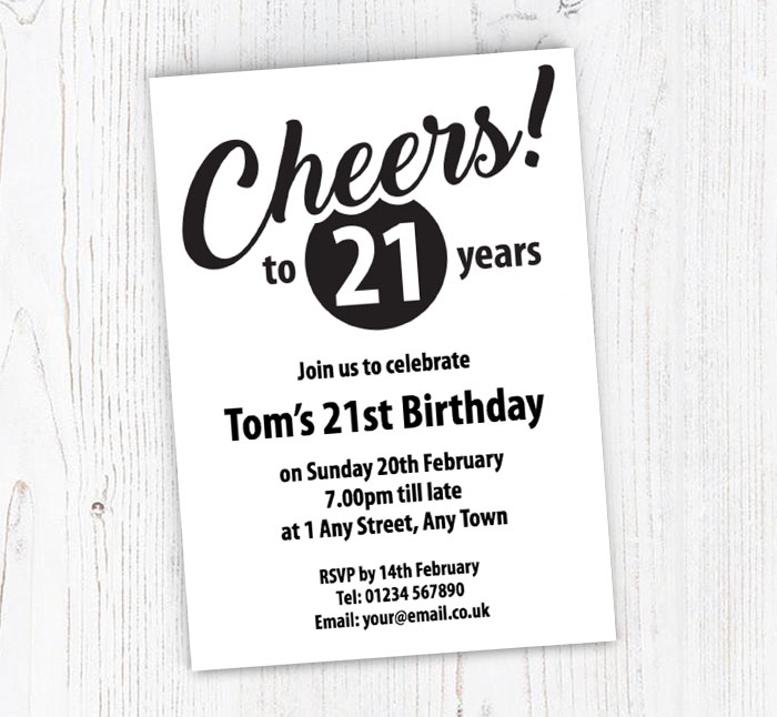 Cheers To 21 Years Party Invitations