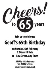 Cheers To 65 Years Party Invitations