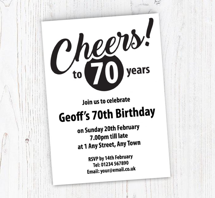 Cheers To 70 Years Party Invitations