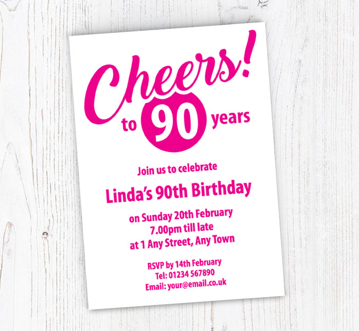 Pink Cheers To 90 Years Party Invitations