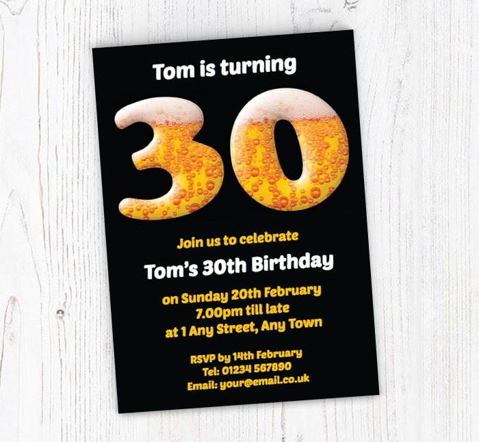 30th Birthday Beer Party Invitations