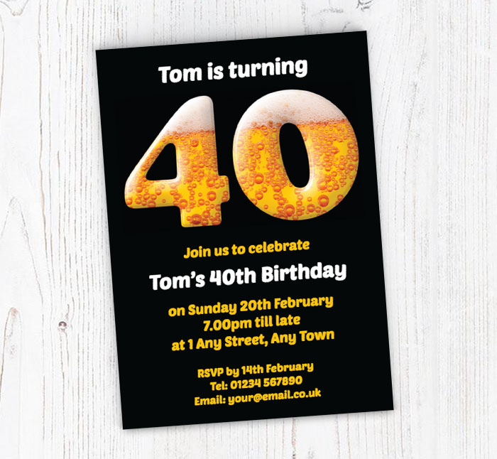 40th Birthday Beer Party Invitations
