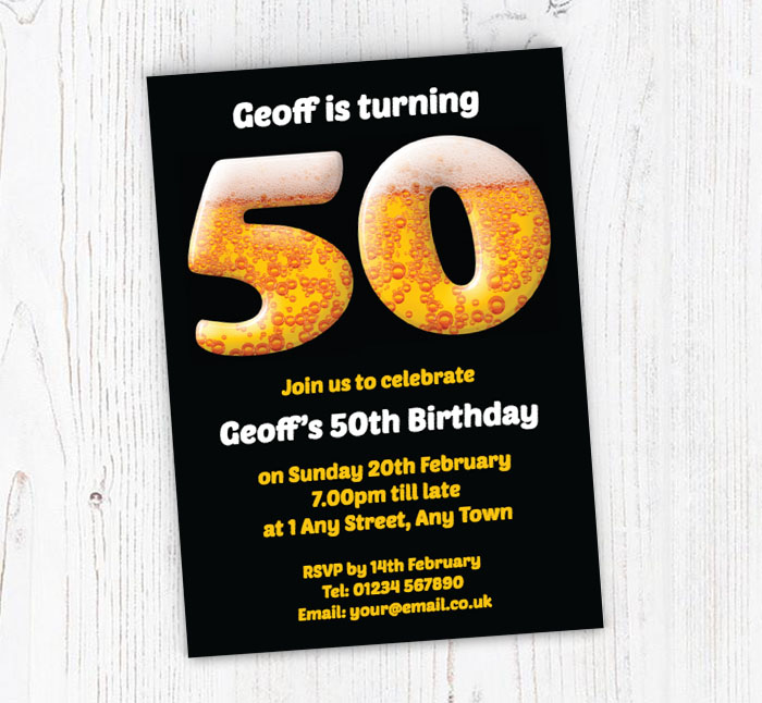 50th Birthday Beer Party Invitations