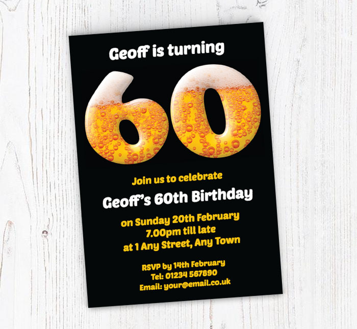 60th Birthday Beer Party Invitations