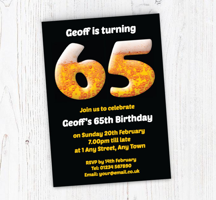 65th Birthday Beer Party Invitations