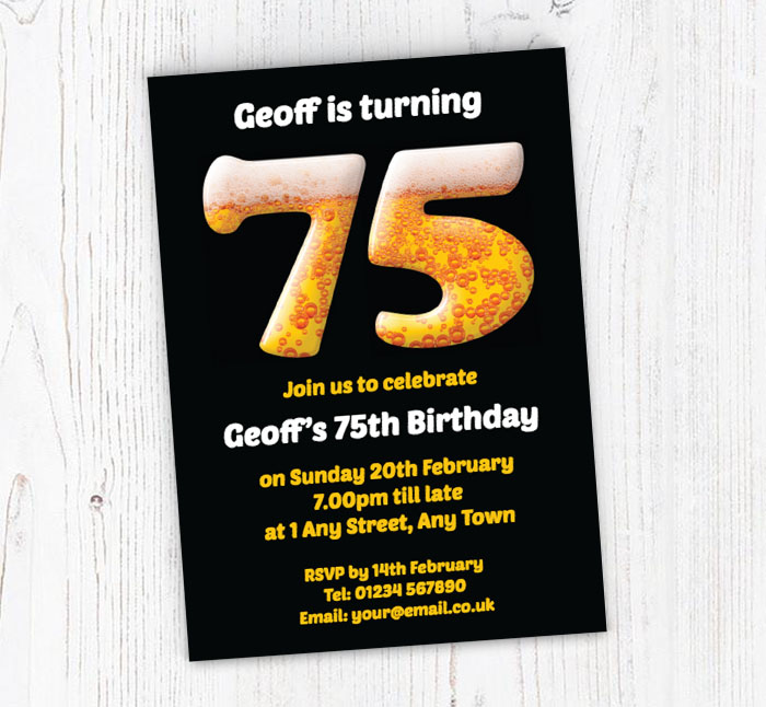 75th Birthday Beer Party Invitations