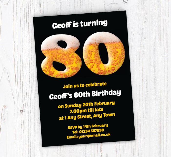 80th Birthday Beer Party Invitations