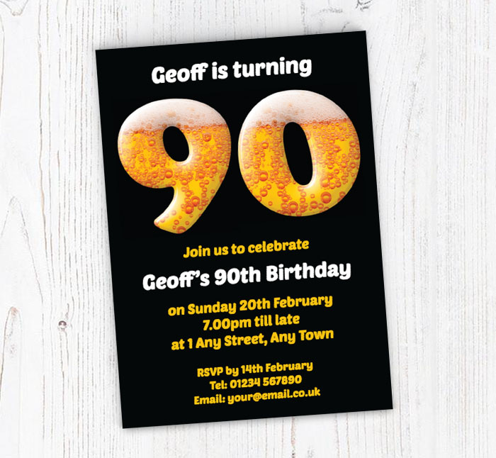 90th Birthday Beer Party Invitations
