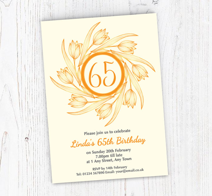 65th Tulips Party Invitations