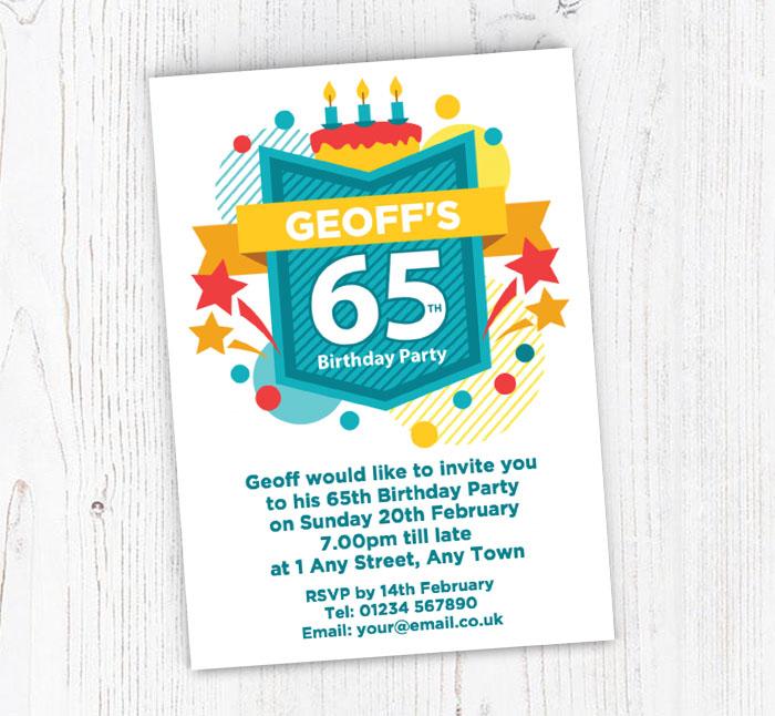 65th Celebration Party Invitations