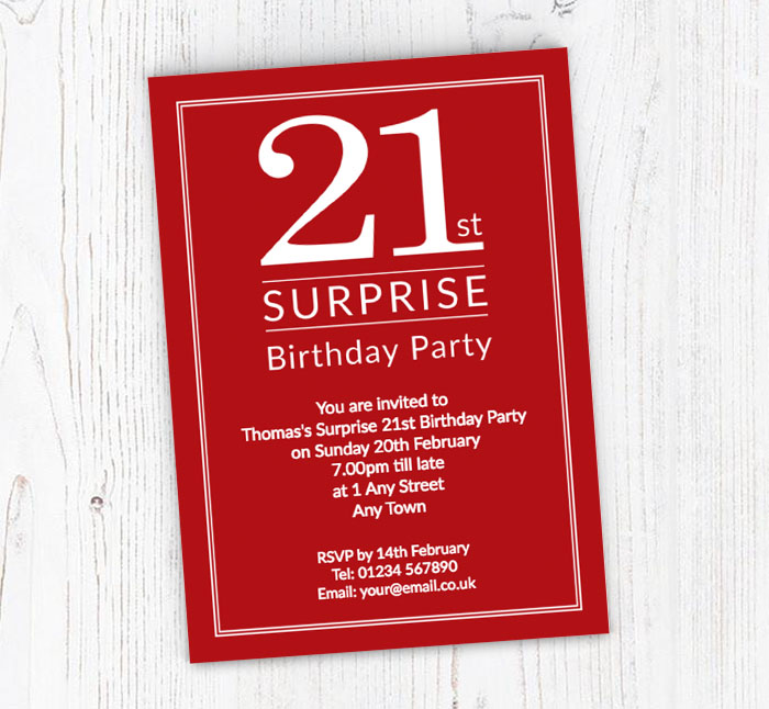 Surprise 21st Birthday Party Invitations | Customise Online Plus Free Envelopes and Free Delivery | Putty Print