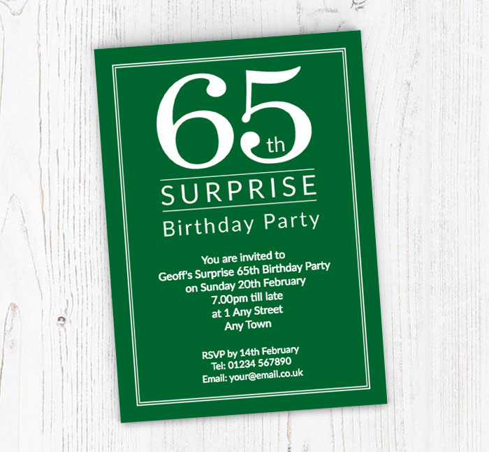Surprise 65th Birthday Party Invitations