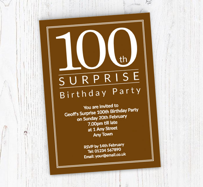 Surprise 100th Birthday Party Invitations