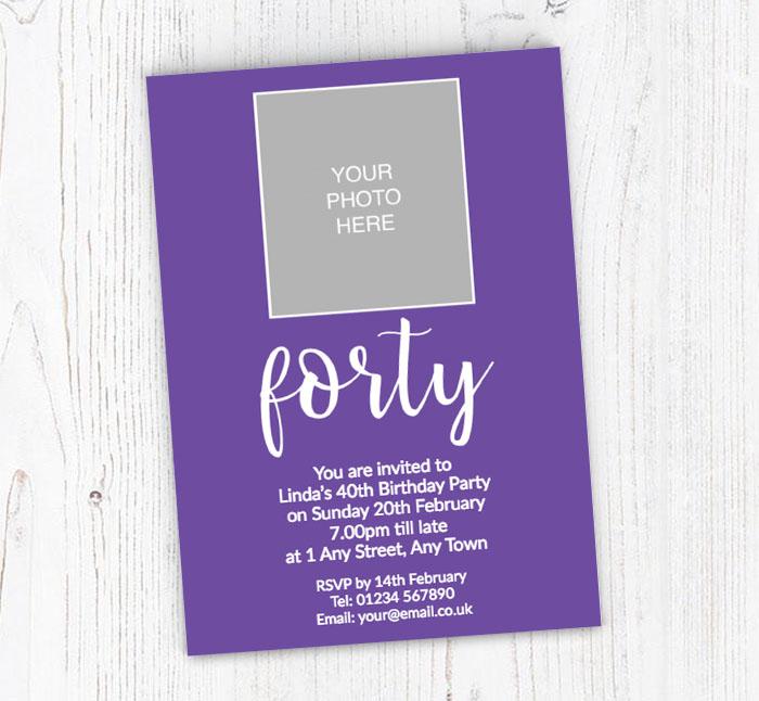 40th Photo Party Invitations