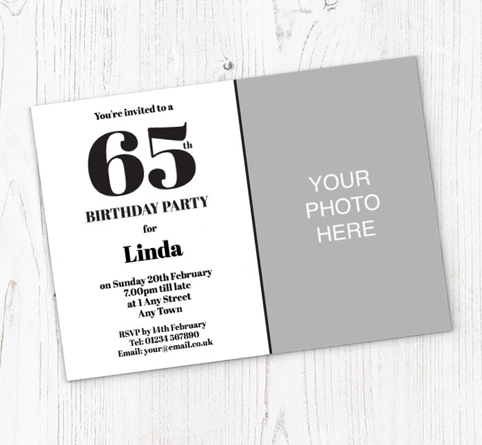 65th Photo Birthday Party Invitations