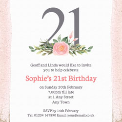 pink 21st square party invitations