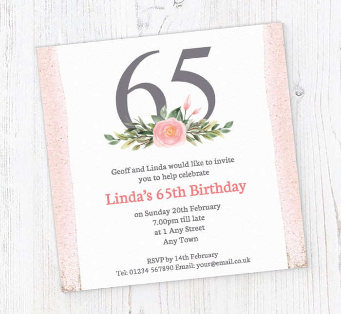 Pink 65th Square Party Invitations