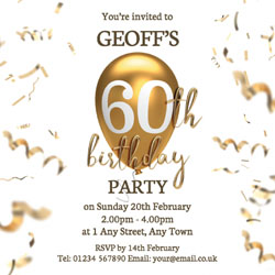 60th gold birthday balloon invitations