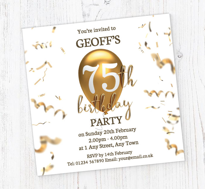 75th Gold Birthday Balloon Invitations