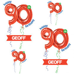 90th red balloon wrapping paper