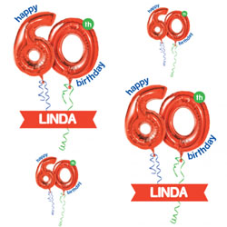 60th red balloon wrapping paper