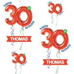 30th red balloon wrapping paper