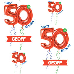50th red balloon wrapping paper