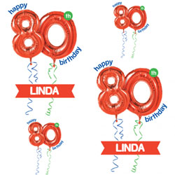80th red balloon wrapping paper