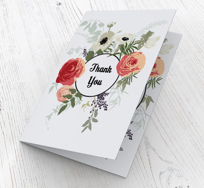 flowers thank you cards  customise online plus free