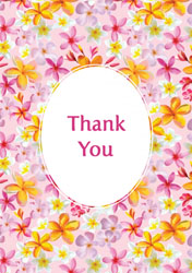 pink flowers thank you cards