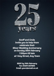 25th sparkle anniversary invitations