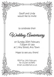 ornate border anniversary invitations