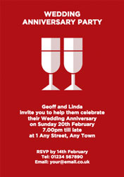 two flutes anniversary invitations