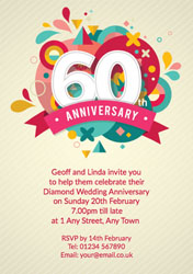 60th abstract anniversary invitations
